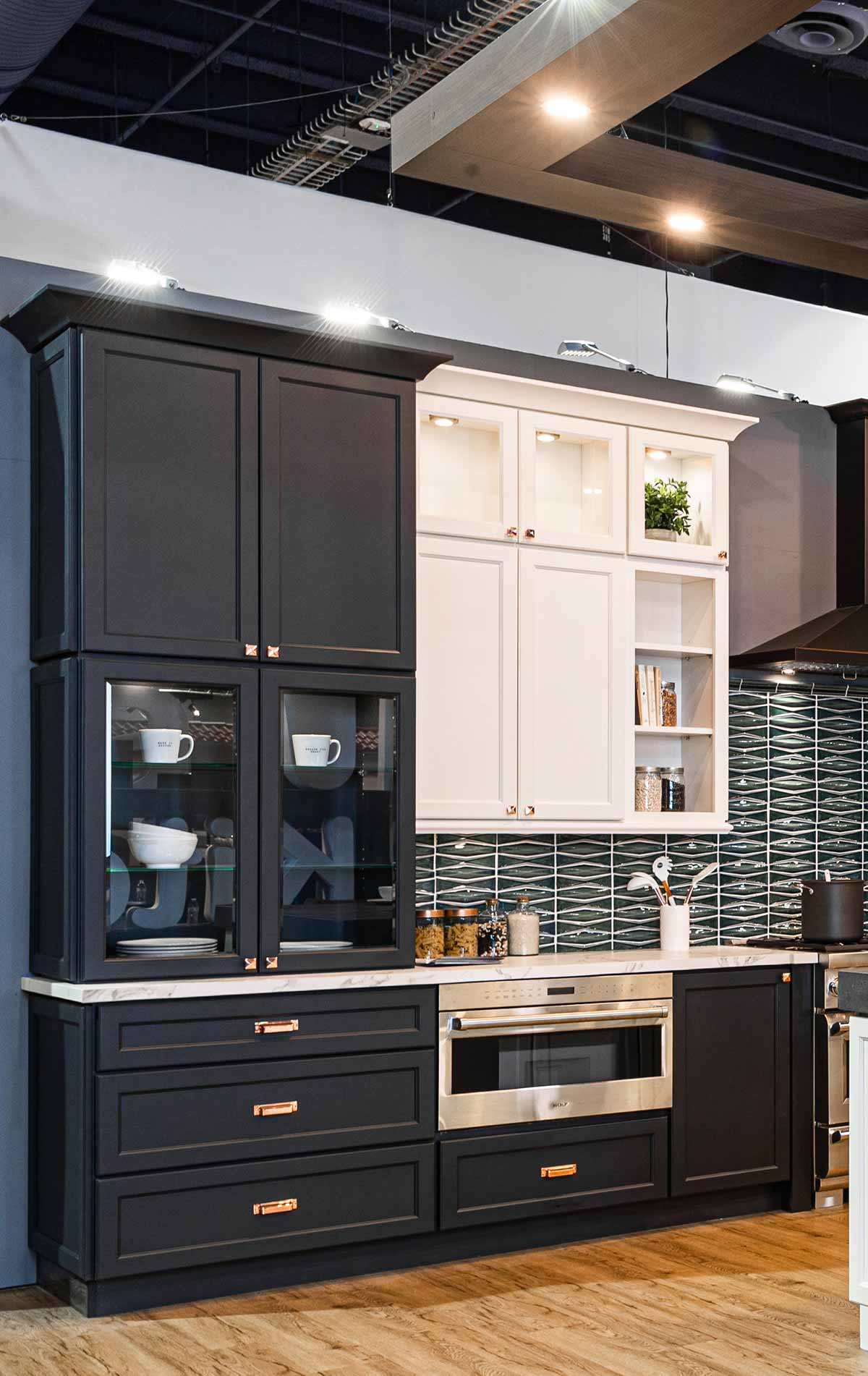 J&K Cabinets E2 transitional line of cabinets displayed in a kitchen
