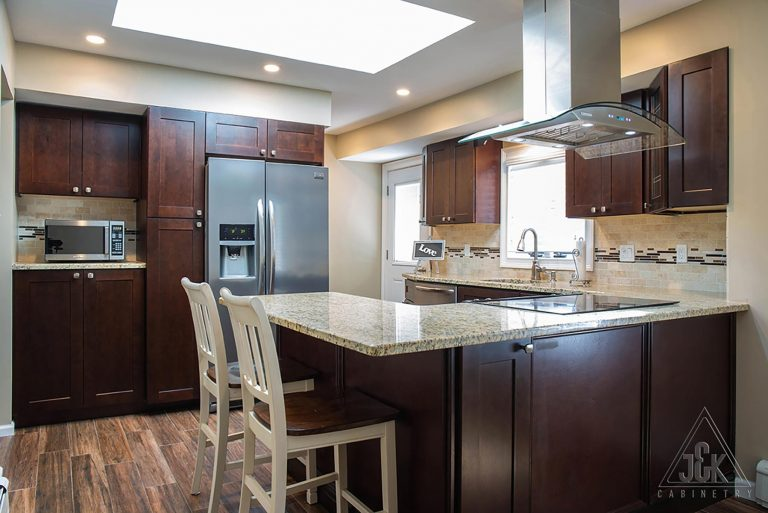 J&K Cabinets contemporary line of cabinets displayed in a kitchen