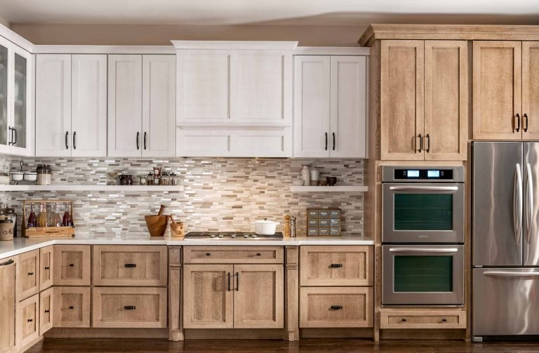Medallion kitchen cabinets are displayed