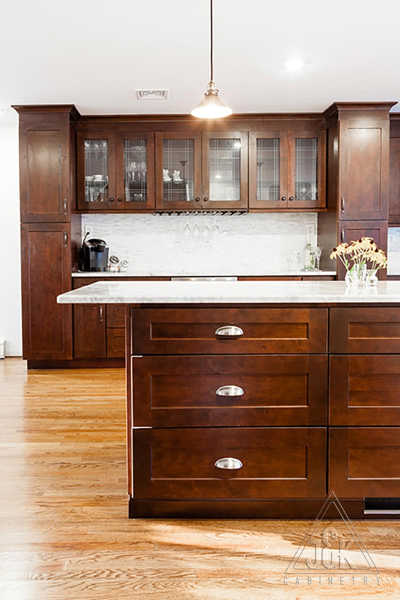 J&K Cabinets S1 contemporary line of cabinets displayed in a kitchen